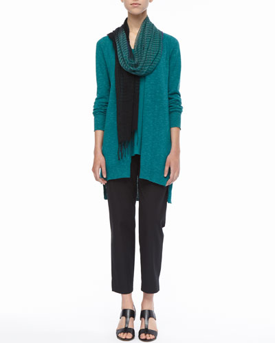 Eileen Fisher Slub Cardigan, Linen-Jersey Tank, Airy Linen-Cashmere Scarf & Organic Twill Slim Ankle Pants, Petite