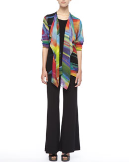 Caroline Rose Over-the-Rainbow Jacket, Stretch-Knit Long Tank & Wide-Leg Pants, Women's