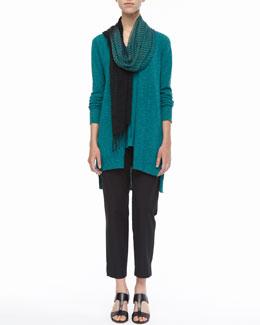 Eileen Fisher Slub Cardigan, Linen-Jersey Tank, Airy Linen-Cashmere Scarf & Organic Twill Slim Ankle Pants, Women's