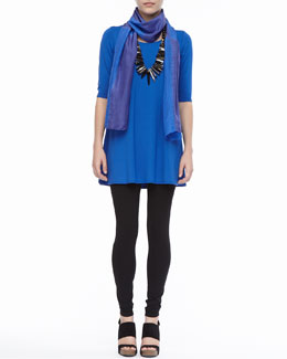 Eileen Fisher Viscose Jersey Half-Sleeve Tunic, Shibori Silk Blocks Scarf & Viscose Jersey Leggings, Women's