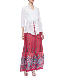 Johnny Was Collection Lacy Vivienne Rayon Jacket & Silk Print Maxi Skirt