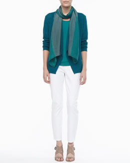 Eileen Fisher Shibori Silk Scarf, Colorblock Cardigan, Stretch Silk Jersey Tank & Skinny Ankle Jeans
