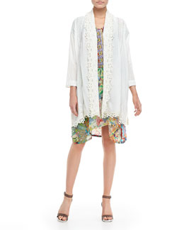Johnny Was Collection Voile Cliff Tassel Jacket & Lilly Asymmetric Print Dress