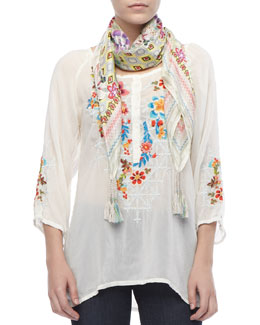 Johnny Was Collection Sheer Embroidered Long Blouse & Sunrose Silk Printed Scarf