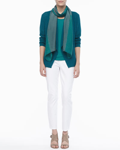 Eileen Fisher Shibori Silk Scarf, Colorblock Cardigan, Stretch Silk Jersey Tank & Skinny Ankle Jeans, Women's
