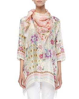 Johnny Was Collection Silk Loose-Fit Tunic & Silk Tasseled Belletini Scarf