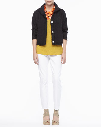 Boiled Wool Short Jacket, Linen Jersey Scoop-Neck Top & Skinny Ankle Jeans ...