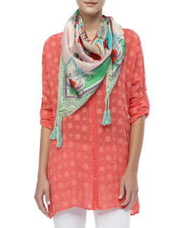 Johnny Was Collection Printed Rayon Relaxed-Fit Tunic & Printed Silk Bellamy Scarf