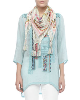 Johnny Was Collection Patchwork Trim Long Top & Sunrose Silk Printed Scarf