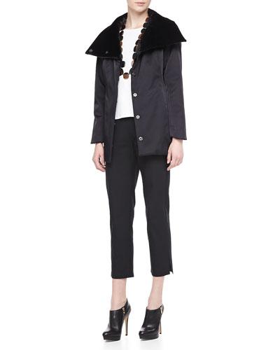 Eileen Fisher Bonded Fleece Snap Jacket, 3/4-Sleeve Cotton Tee & Twill Slim Ankle Pants, Women's