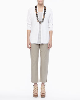 Eileen Fisher Linen Knit Cardigan, Jersey Striped Tank & Twill Slim Ankle Pants