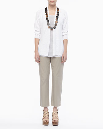 Linen Knit Cardigan, Jersey Striped Tank & Twill Slim Ankle Pants