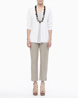 Eileen Fisher Linen Knit Cardigan, Jersey Striped Tank & Twill Slim Ankle Pants, Petite
