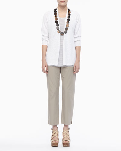 Linen Knit Cardigan, Jersey Striped Tank & Twill Slim Ankle Pants, Petite