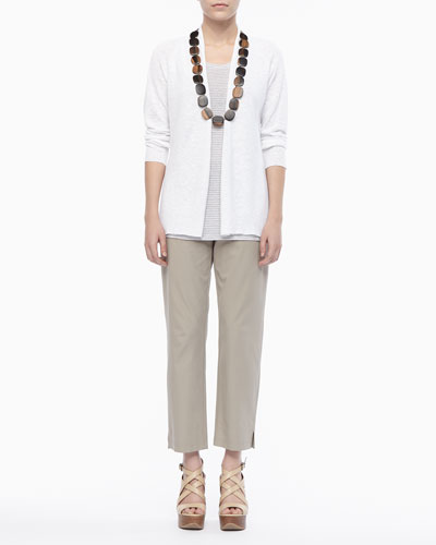 Eileen Fisher Linen Knit Cardigan, Jersey Striped Tank & Twill Slim Ankle Pants, Women's