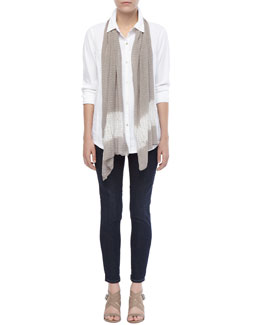 Eileen Fisher Linen-Stretch Button-Front Shirt, Silk Shibori Ripple Scarf & Soft Stretch Skinny Jeans