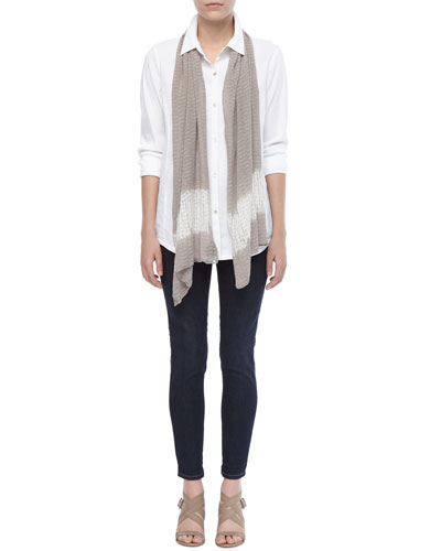 Eileen Fisher Linen-Stretch Button-Front Shirt, Silk Shibori Ripple Scarf & Soft Stretch Skinny Jeans, Petite