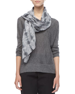 Eileen Fisher Royal Alpaca Colorblock Knit Top &  Shibori Shapes Scarf, Women's