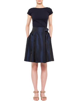Akris punto Scoop-Back Jersey Top and A-Line Techno Skirt