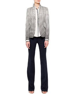 Akris punto Dotted Snap Blazer, Contrast-Piping Shirt & Boot-Cut Wool Pants