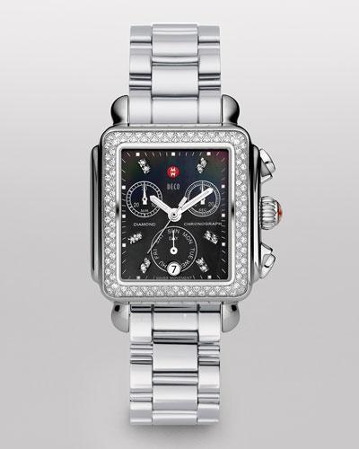 MICHELE Deco Diamond Watch Head & Three-Link Bracelet
