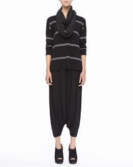 Eileen Fisher Striped V-Neck Merino Wool Top, Organic-Cotton Tank, Infinity Scarf & Jersey Harem Pants