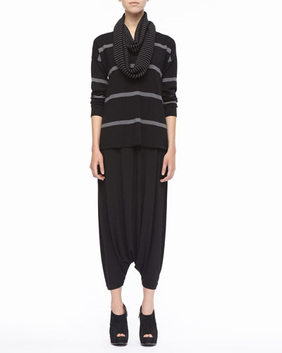 Eileen Fisher Striped V-Neck Merino Wool Top, Organic-Cotton Tank, Infinity Scarf & Jersey Harem Pants, Petite