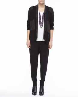 Eileen Fisher Wide-Striped Wool Cardigan, Linen Jersey Scoop-Neck Top & Jersey Slouchy-Fit Pants