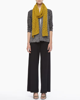 Eileen Fisher Versatile Nubby-Cotton Cardigan, Organic Cotton Slim Tank & Washable Stretch Jersey Wide-Leg Pants