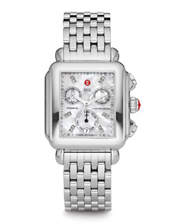 MICHELE Deco Diamond-Dial Watch Head & 7-Link Bracelet Strap