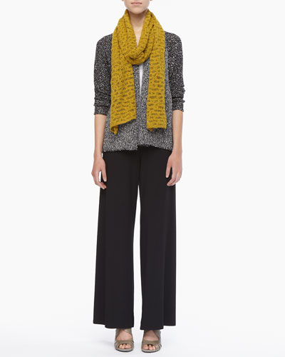 Eileen Fisher Versatile Nubby-Cotton Cardigan, Organic Cotton Slim Tank, Crimp-Cotton Scarf & Washable Stretch Jersey Wide-Leg Pants, Petite