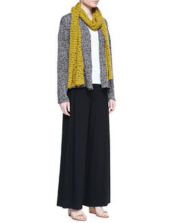 Eileen Fisher Nubby Cotton Cardigan, Organic Cotton Slim Tank, Crimp-Cotton Scarf & Washable Stretch Jersey Wide-Leg Pants, Women's