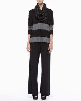 Eileen Fisher Striped Linen Long-Sleeve Top, Washable Stretch Jersey Wide-Leg Pants & Mini Stripe Infinity Scarf