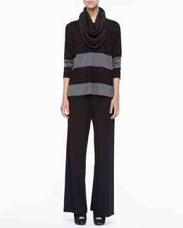 Eileen Fisher Mini Stripe Infinity Scarf, Washable Stretch Jersey Wide-Leg Pants & Mini Stripe Infinity Scarf, & Striped Linen Long-Sleeve Top, Petite