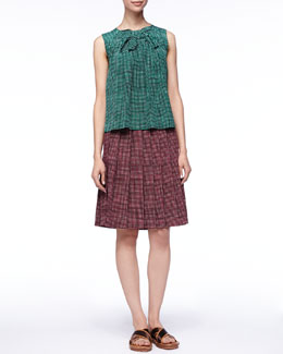 Marc Jacobs Grid-Print Bow-Front Blouse and Pleated Skirt