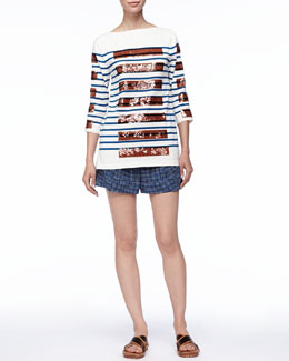 Marc Jacobs Sequined-Stripe Bateau Tunic and Cuffed Grid-Print Shorts
