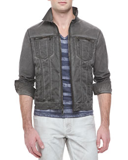 John Varvatos Star USA Denim Zip-Trim Jacket & Printed-Stripe V-Neck T-Shirt