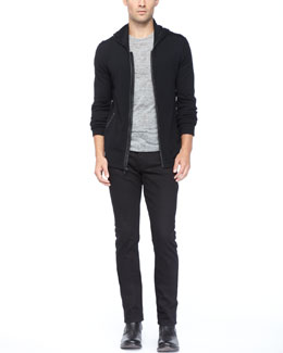 John Varvatos Star USA Leather-Trim Zip Hoodie, Crewneck Tee & Basic Denim Jeans