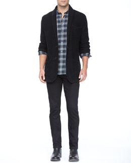 John Varvatos Star USA Long-Sleeve Plaid Shirt, Shawl Collar Jacket & Basic Denim Jeans