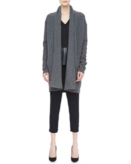 Vince Textured Knit Open Cardigan, Suede/Leather V-Neck Top & Stretch Wool Harem Pants