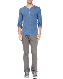 John Varvatos Star USA Long-Sleeve Burnout Waffle Henley & Bowery Denim Pants