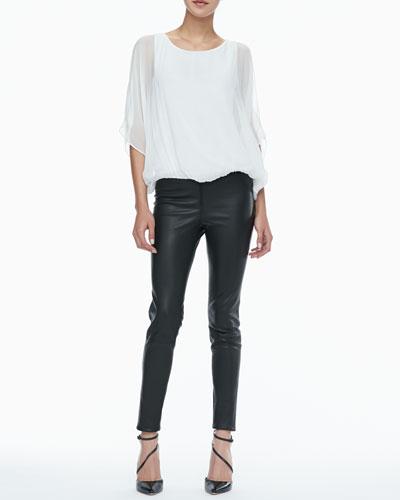 Alice + Olivia Sheer-Sleeve Batwing Top & Leather Leggings