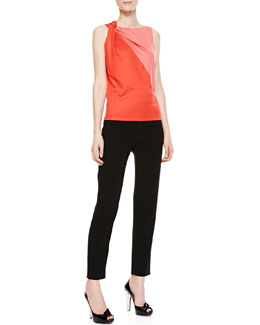 Paule Ka Knot-Shoulder Bicolor Blouse & Cropped Trouser Pants