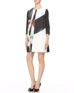 Paule Ka Three-Quarter-Sleeve Abstract-Print Coat & Sleeveless Abstract-Print Shift Dress