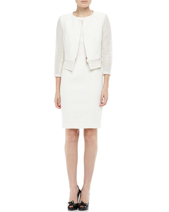 Perforated Zip-Front Jacket & Perforated-Trim Sheath Dress
