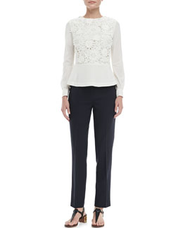 Tory Burch Isabel Crochet-Panel Top & Tara Cropped Crepe Pants