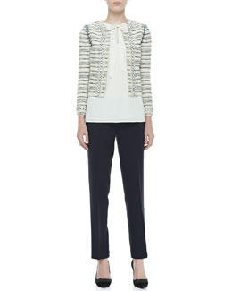 Tory Burch Nicole Jewel-Trim Jacket, Tanya Tie-Neck Top & Tara Cropped Crepe Pants