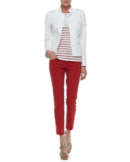 Tory Burch Shrunken Sergeant Twill Jacket, Amanda Lace-Bib Striped Tee & Alexa Cropped Skinny Jeans