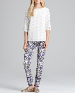 Tory Burch Elie Dot-Lace Top & Izzy Printed Cropped Skinny Jeans