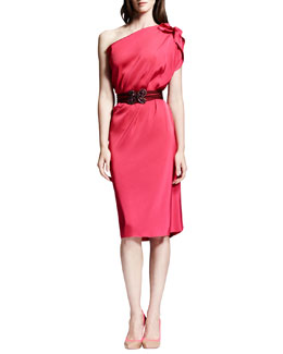 Lanvin One-Shoulder Washed Satin Dress & Crystal-Buckle Elastic Belt